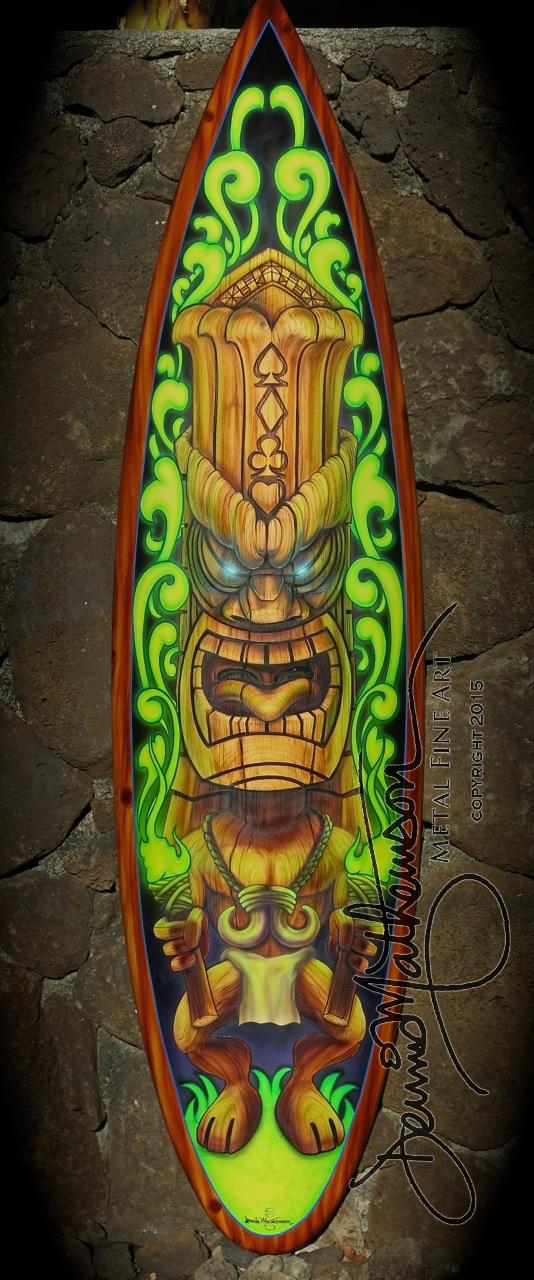 Tiki Surf Board Wall Art - Dennis Mathewson Art